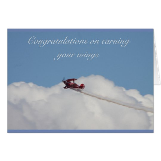 Occastions card for gaining a pilots license