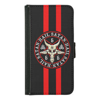 Occult Hail Satan Baphomet Goat in Pentagram Samsung Galaxy S5 Wallet Case