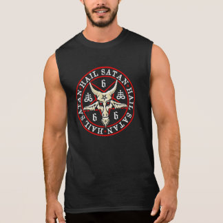 Occult Hail Satan Baphomet in Pentagram Sleeveless Shirt