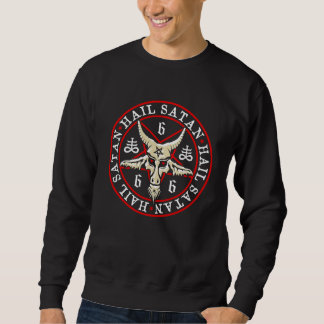 Occult Hail Satan Baphomet in Pentagram Sweatshirt