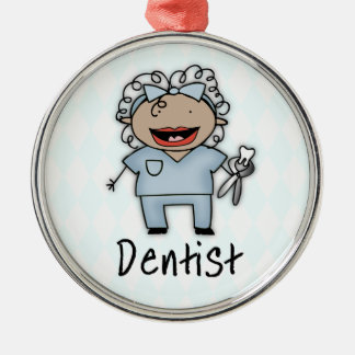 Occupation Dentist Professional Female Silver-Colored Round Decoration