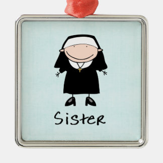 Occupation Nun Religious Vocation  Personalized Silver-Colored Square Decoration
