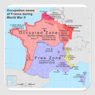 Occupation Zones of France During World War II Square Sticker