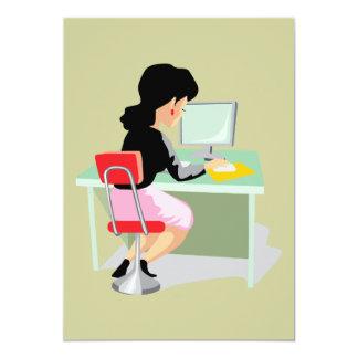 occupations-046_17192006 OFFICE WORKER BOSS WOMAN 13 Cm X 18 Cm Invitation Card