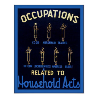 Occupations Related to Household Arts ~ Vintage Poster