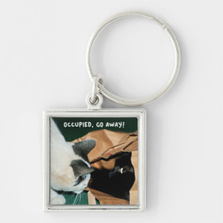 Occupied, Go Away! Funny Cats Keychains