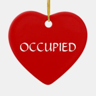 Occupied Vacant Green Red Ceramic Heart Decoration