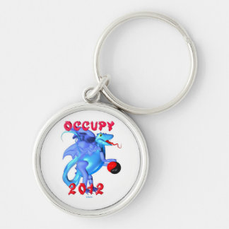 Occupy 2012 - occupy movement water dragon Silver-Colored round key ring