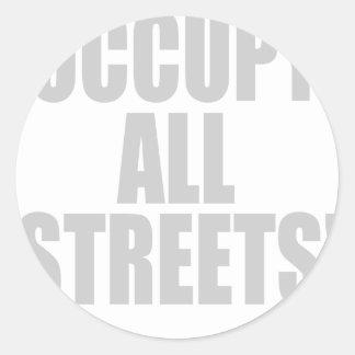 OCCUPY ALL STREETS ROUND STICKER