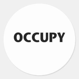Occupy (Black on White) Round Sticker