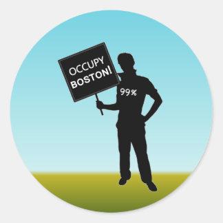 Occupy Boston Sign Round Sticker