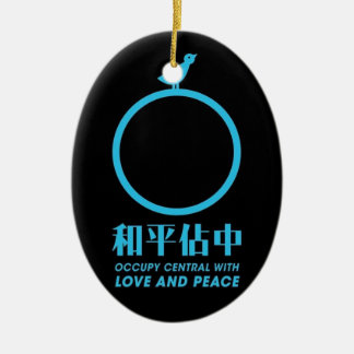 Occupy central Hong kong logo of peace. Ceramic Oval Decoration