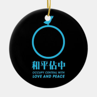 Occupy central Hong kong logo of peace. Round Ceramic Decoration
