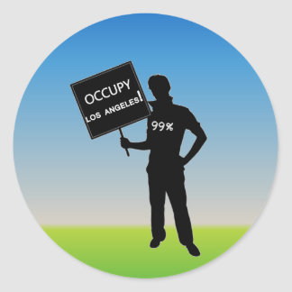 Occupy Los Angeles Sign Round Sticker