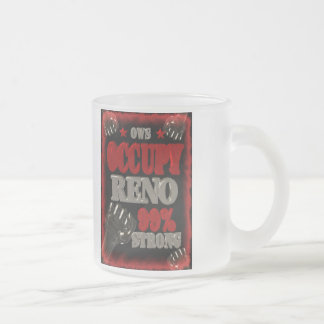 Occupy Reno OWS protest 99 percent strong poster Frosted Glass Mug