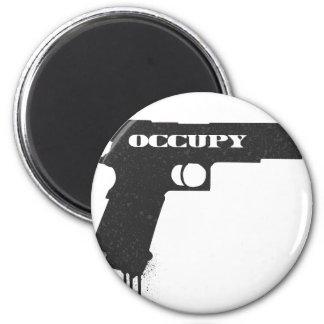 Occupy Rubber Bullet Gun Black 6 Cm Round Magnet