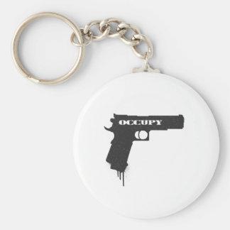 Occupy Rubber Bullet Gun Black Basic Round Button Key Ring