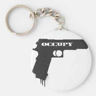 Occupy Rubber Bullet Gun Black Basic Round Button Key Ring