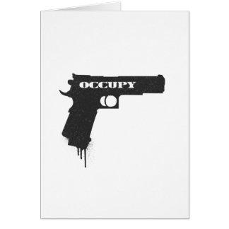 Occupy Rubber Bullet Gun Black Greeting Card