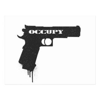 Occupy Rubber Bullet Gun Black Postcard