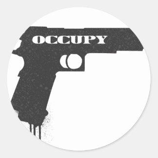 Occupy Rubber Bullet Gun Black Round Sticker