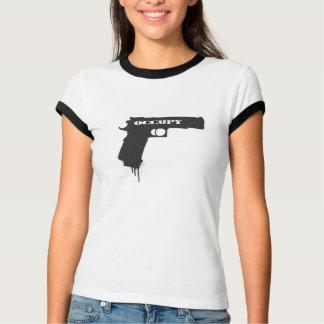 Occupy Rubber Bullet Gun Black T Shirts
