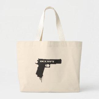 Occupy Rubber Bullet Gun Black Tote Bag