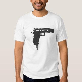 Occupy Rubber Bullet Gun Black Tshirt