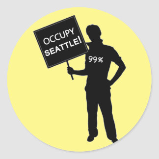 Occupy Seattle Sign Round Sticker