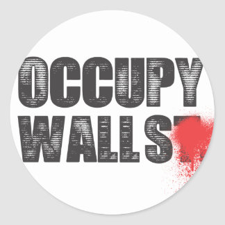 OCCUPY WALLS ROUND STICKER