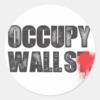 OCCUPY WALLS CLASSIC ROUND STICKER