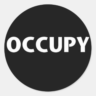 Occupy (White on Black) Round Sticker