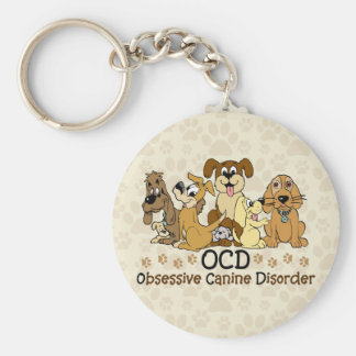 OCD Obsessive Canine Disorder Basic Round Button Key Ring