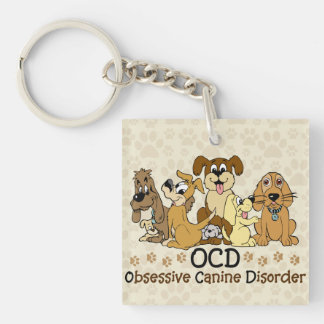 OCD Obsessive Canine Disorder Double-Sided Square Acrylic Key Ring