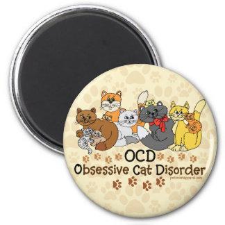 OCD Obsessive Cat Disorder 6 Cm Round Magnet