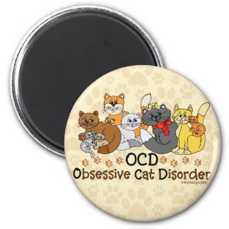 OCD Obsessive Cat Disorder Fridge Magnets
