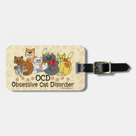 OCD Obsessive Cat Disorder Personalised Luggage Tag