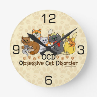 OCD Obsessive Cat Disorder Round Clock