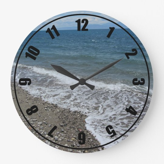 Ocean and Beach Scene Large Clock