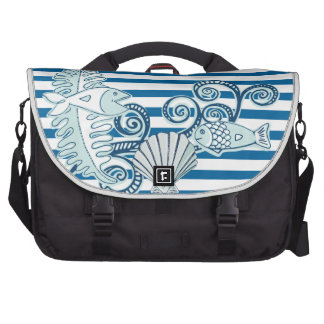 Ocean and Fish Blue and White Horizontal Stripe Laptop Commuter Bag