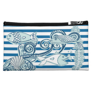 Ocean and Fish Blue and White Stripe Bag Makeup Bags