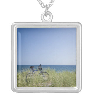 Ocean and horizon with clear blue sky silver plated necklace