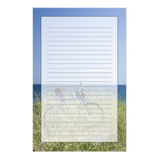 Ocean and horizon with clear blue sky stationery design