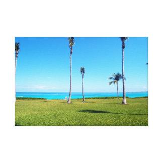 Ocean and Palm Landscape Canvas Print