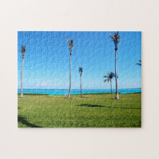 Ocean and Palm Landscape Jigsaw Puzzle