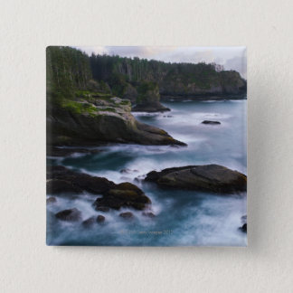 Ocean and rocky shore of remote area 2 15 cm square badge