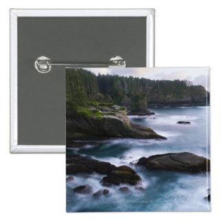 Ocean and rocky shore of remote area 2 15 cm square badge