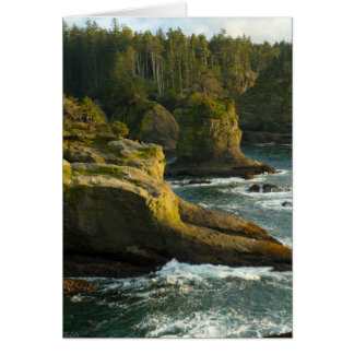 Ocean and rocky shore of remote area card