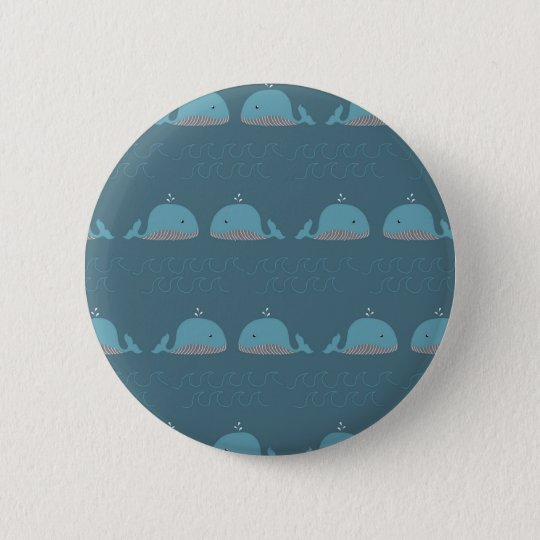 Ocean and Whale Print 6 Cm Round Badge