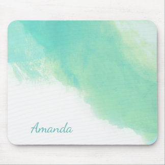 Ocean Aqua Blue Abstract with Monogram Mouse Mat